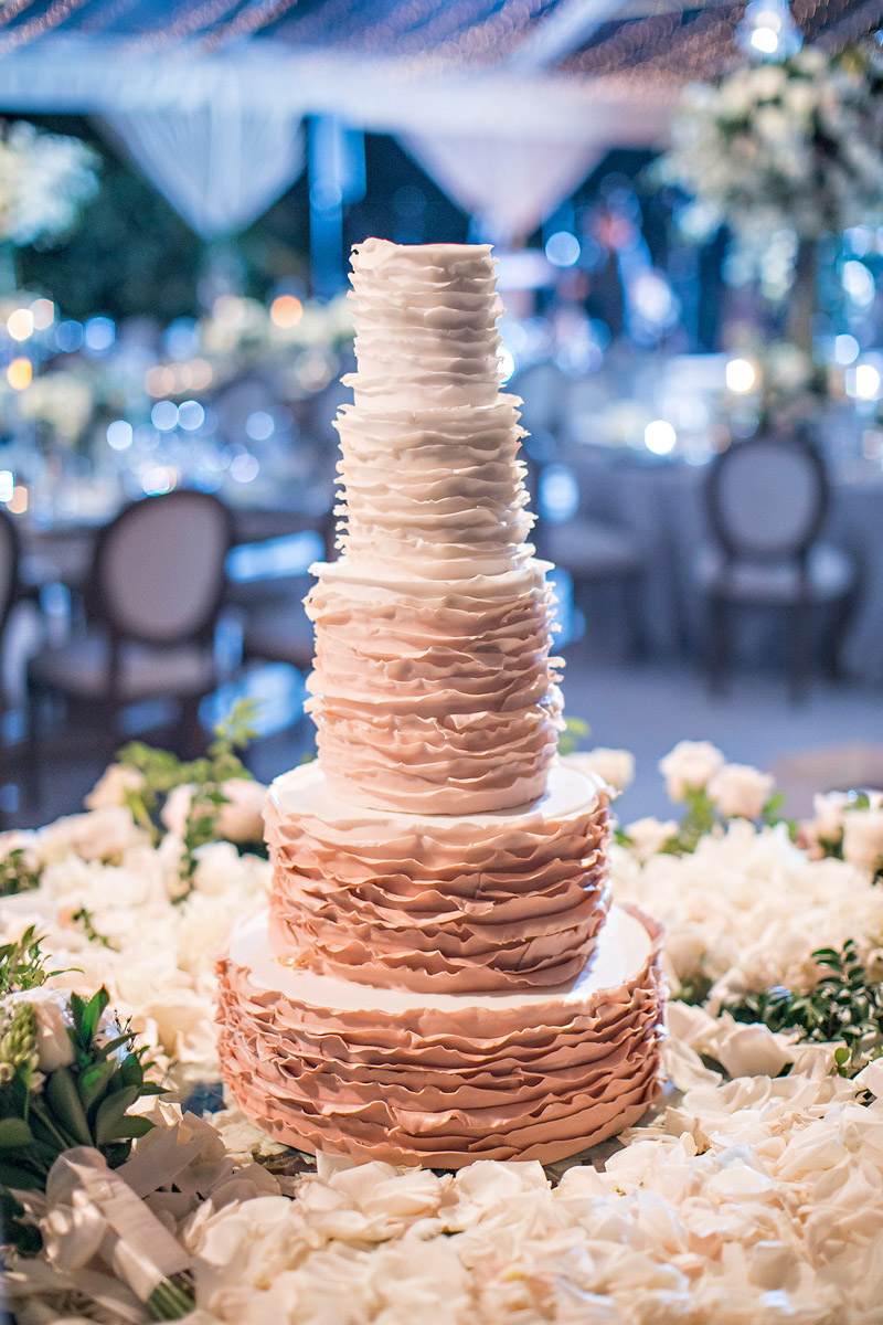 Hotel Bel-Air wedding cake, florals designed by Eddie Zaratsian, Photo by Jessica Claire Photography