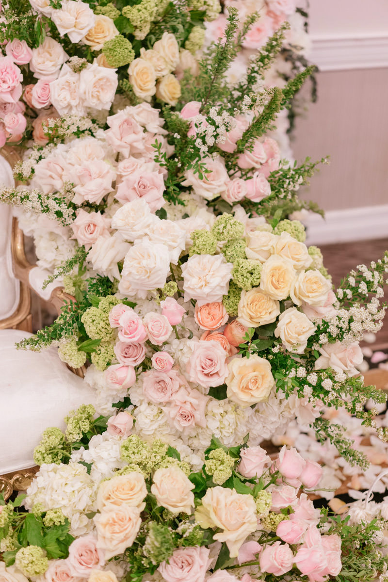 Blush, cream and white rose wedding reception decor by Eddie Zaratsian, photo by Kris Kan