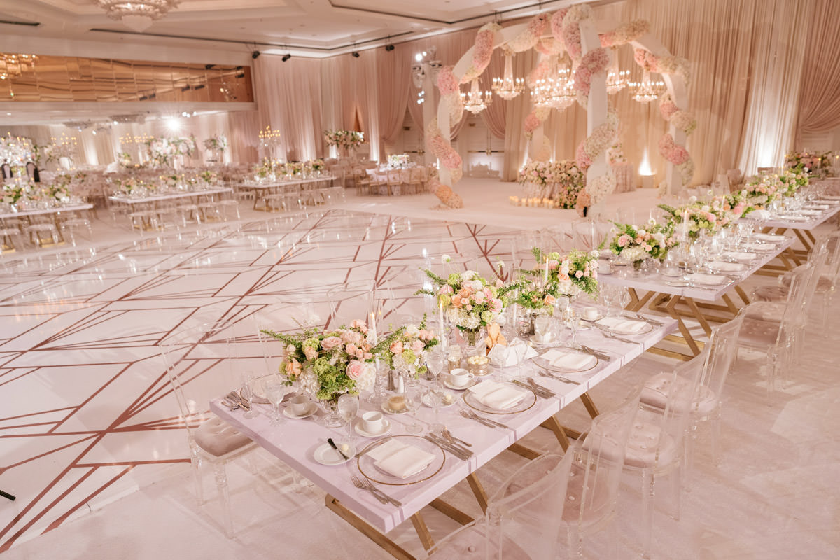 Modern pink, cream and copper wedding reception decor designed by Eddie Zaratsian, photo by Kris Kan