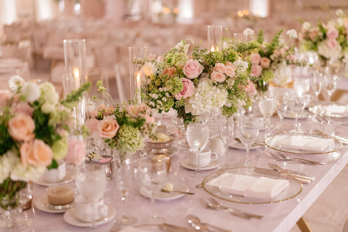 Modern pink, cream and copper wedding reception table scape designed by Eddie Zaratsian, photo by Kris Kan