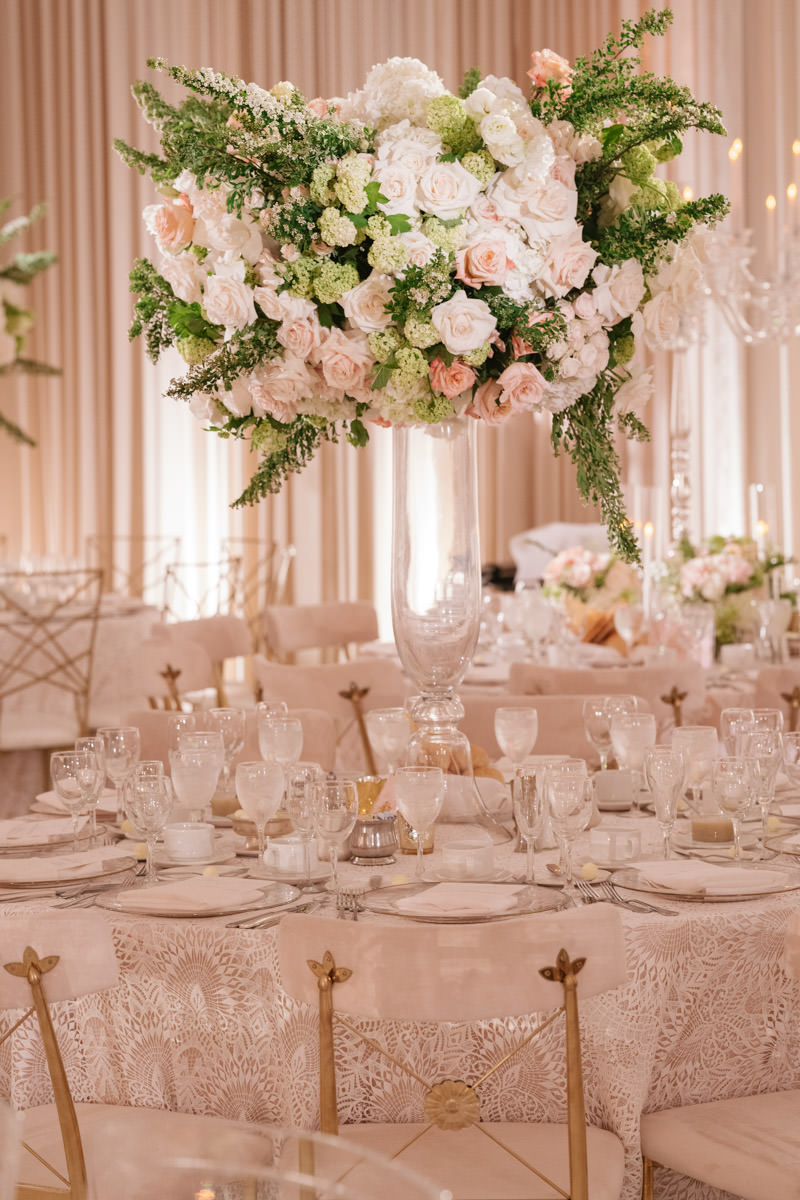 Pink, cream and copper wedding reception centerpiece designed by Eddie Zaratsian, photo by Kris Kan