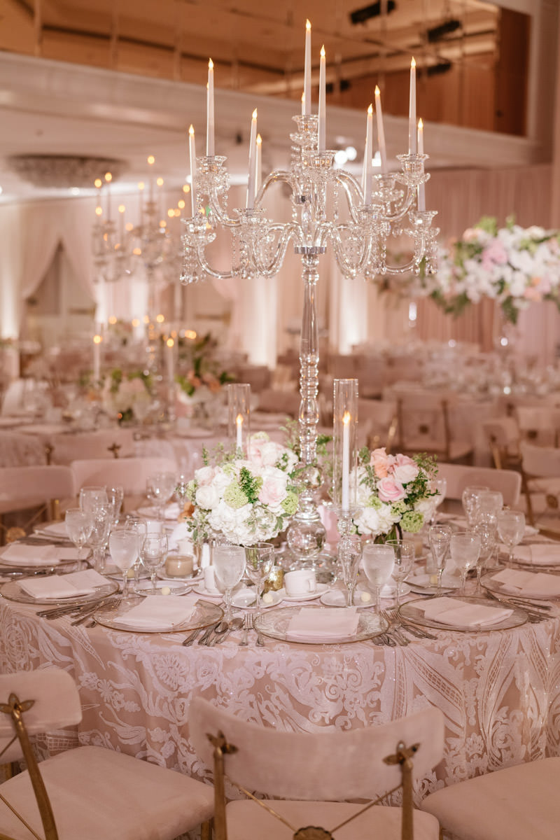 Pink, cream and copper wedding reception with translucent centerpiece candelabra designed by Eddie Zaratsian, photo by Kris Kan