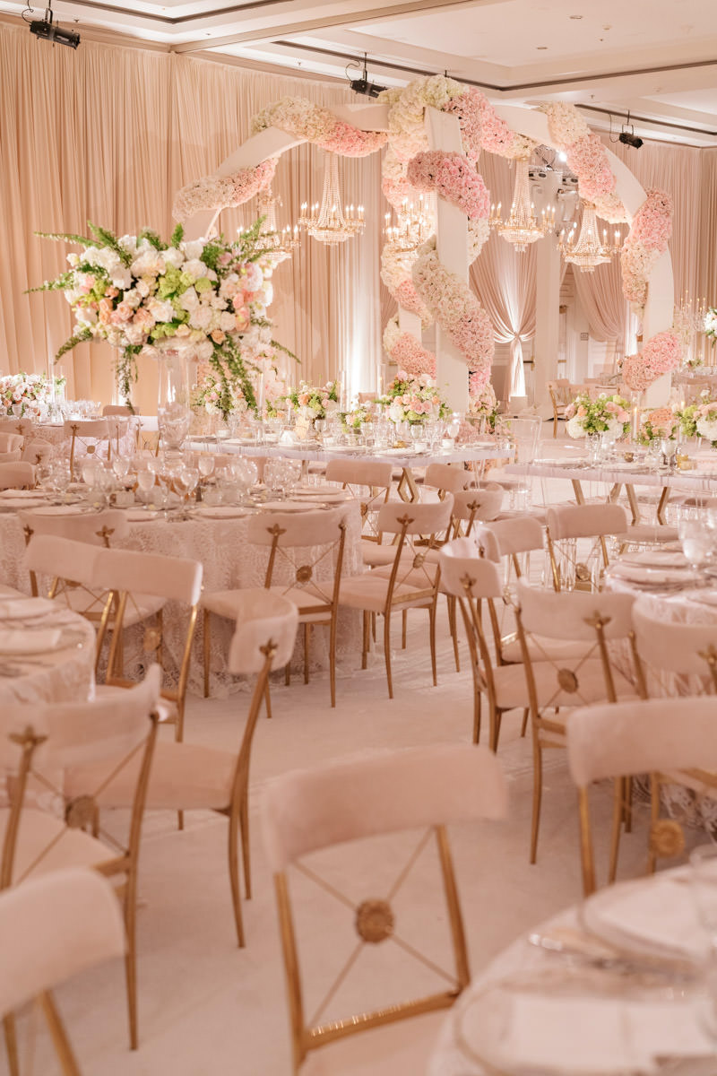 Pink, cream and copper wedding reception decor designed by Eddie Zaratsian, photo by Kris Kan