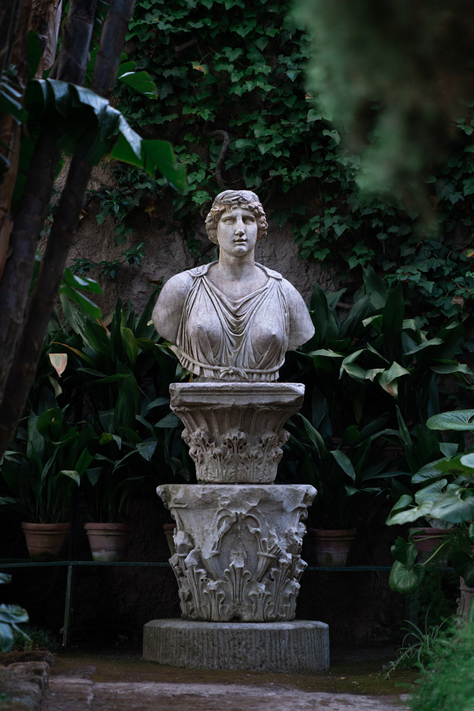 Statue in the gardens at Villa Astor, Sorrento, Italy - photo by Adagion Studio
