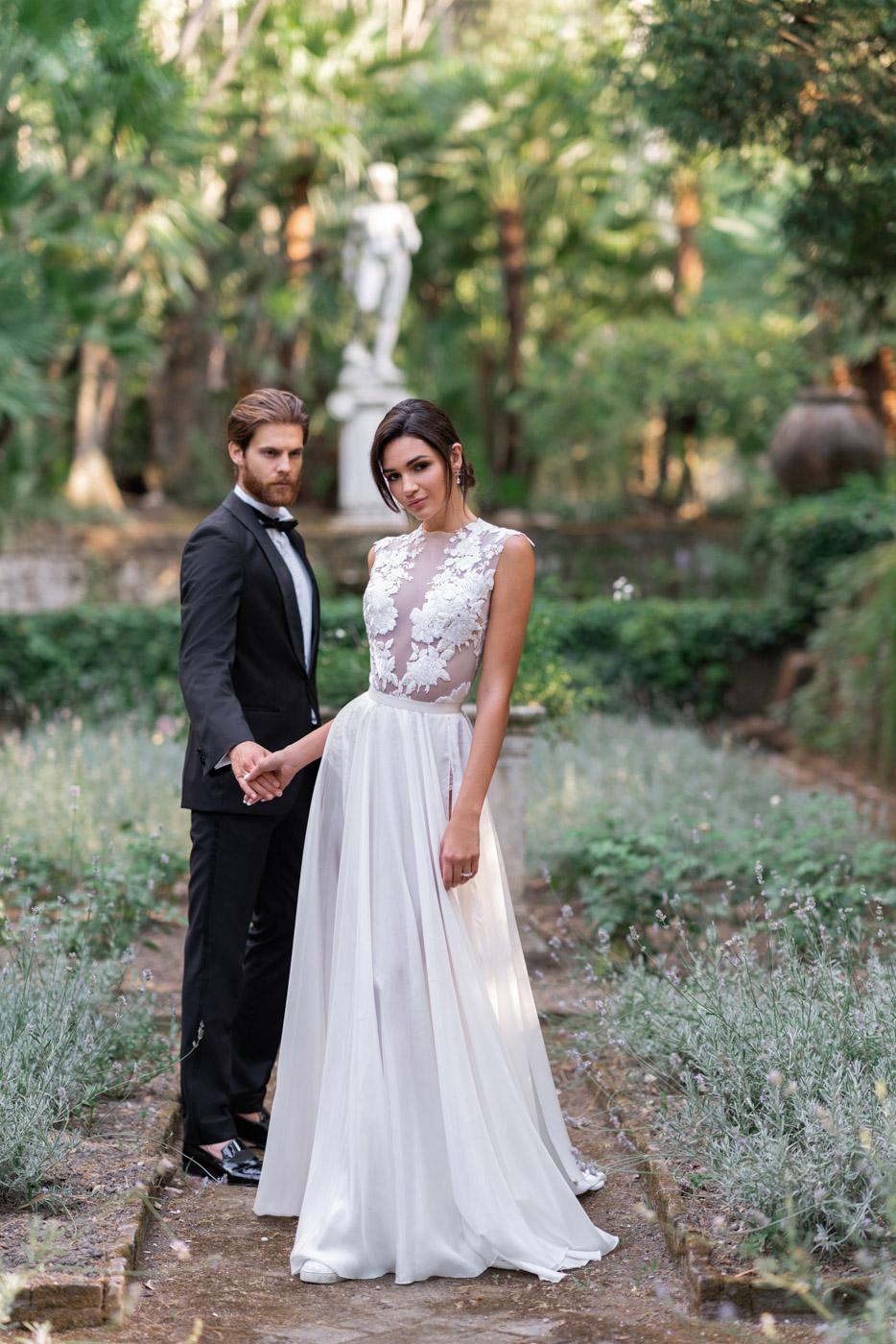 Wedding couple in the gardens at Villa Astor, Sorrento, Italy - photo by Adagion Studio