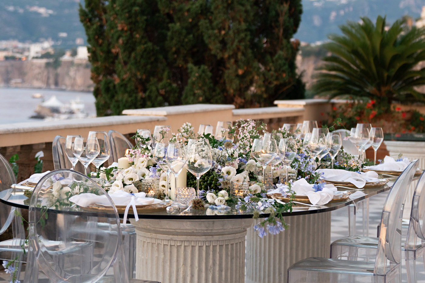 Wedding tablescape designed by Eddie Zaratsian at Villa Astor, Sorrento, Italy - photo by Adagion Studio