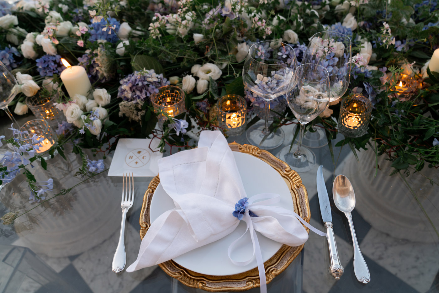 Wedding table setting and florals designed by Eddie Zaratsian at Villa Astor, Sorrento, Italy - photo by Adagion Studio