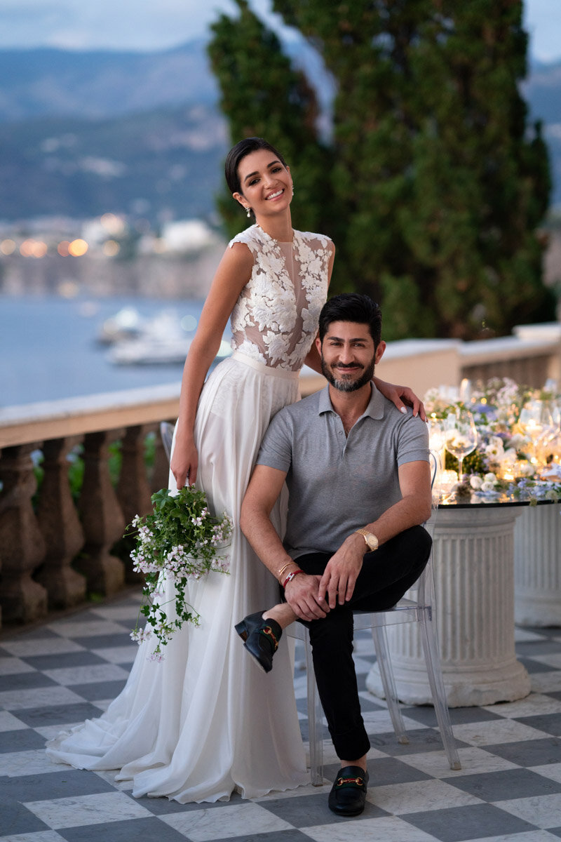 Eddie Zaratsian and bridal model at Villa Astor in Sorrento, Italy