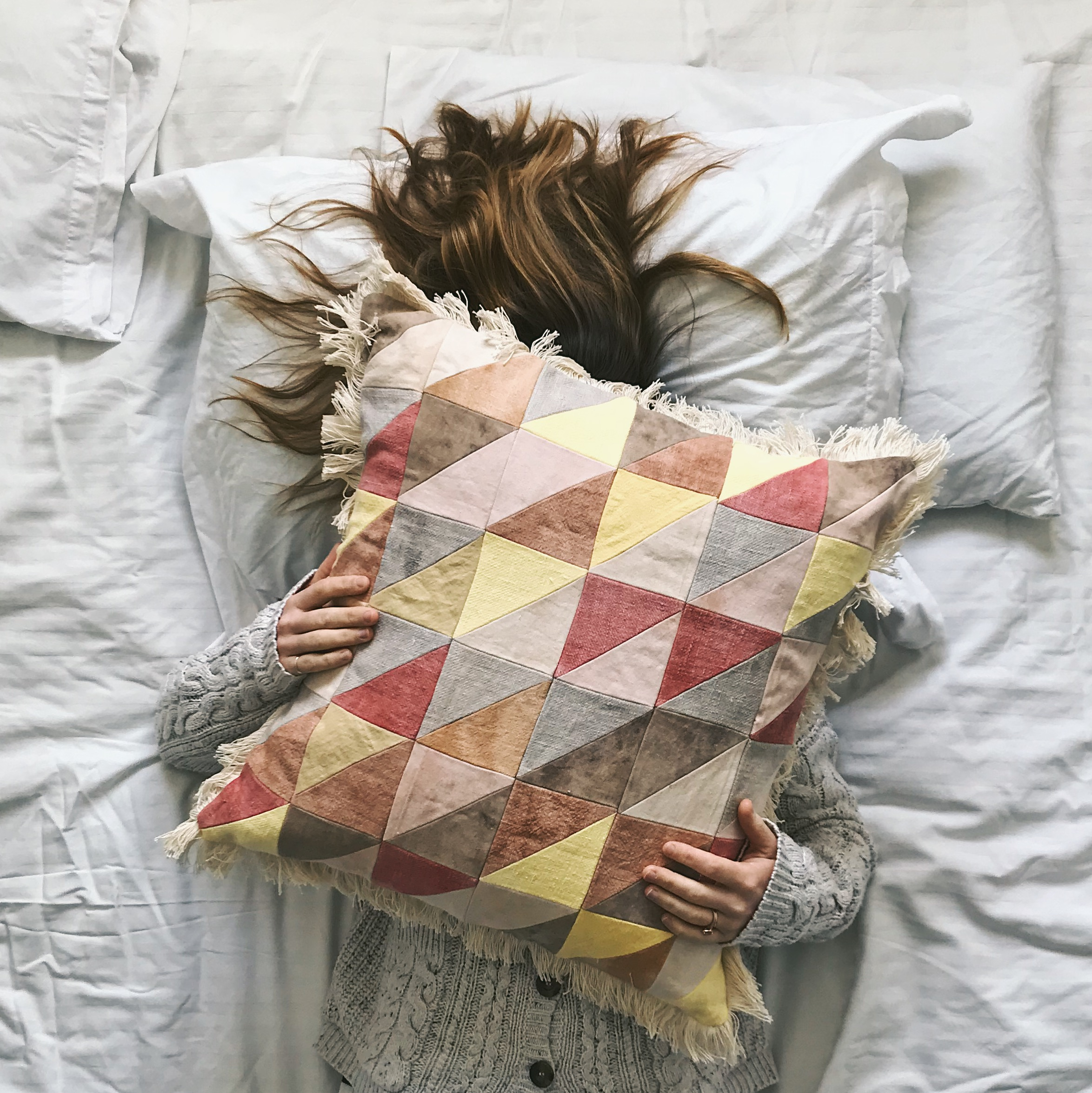 rainbow patchwork cushion