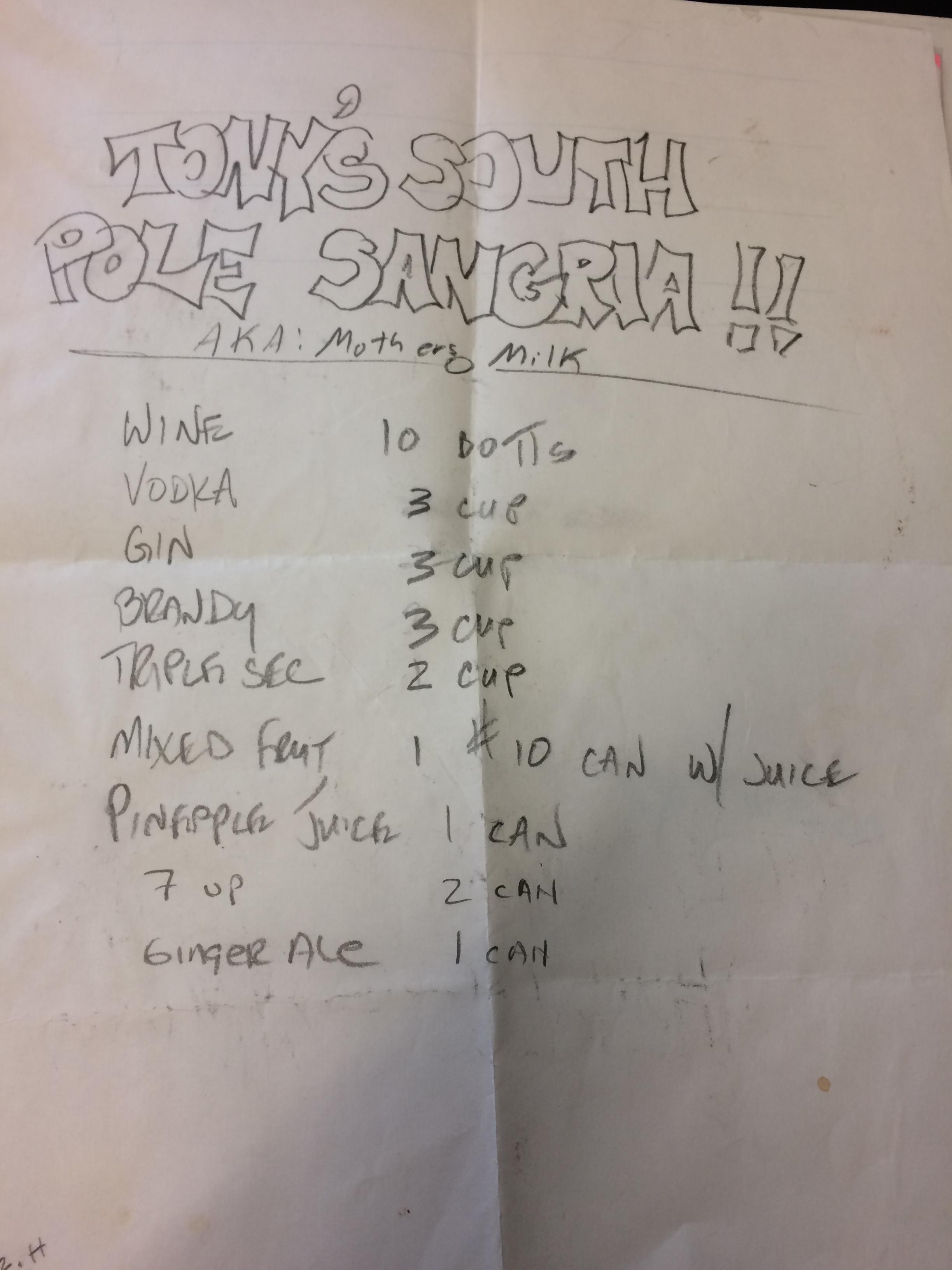 South Pole Sangria a,k.a. Mother's Milk