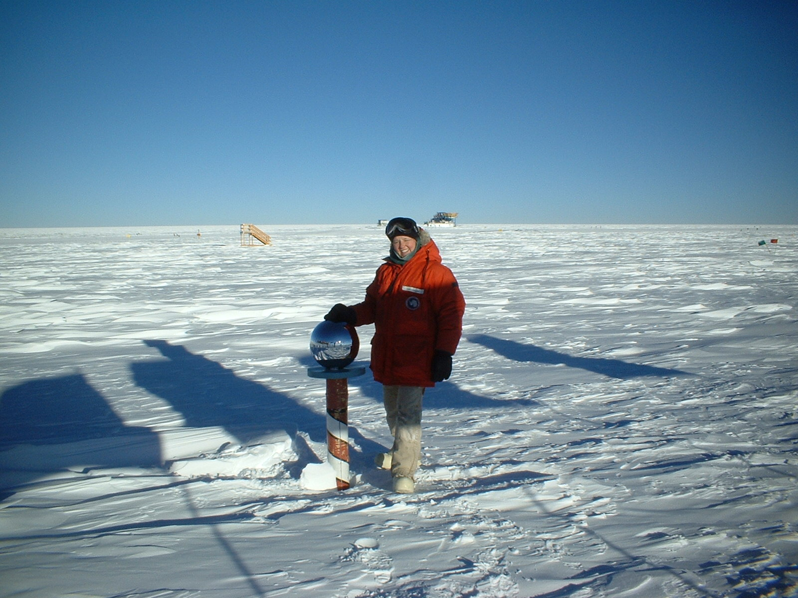 Lacy Shelby at the geographic South Pole, 2002