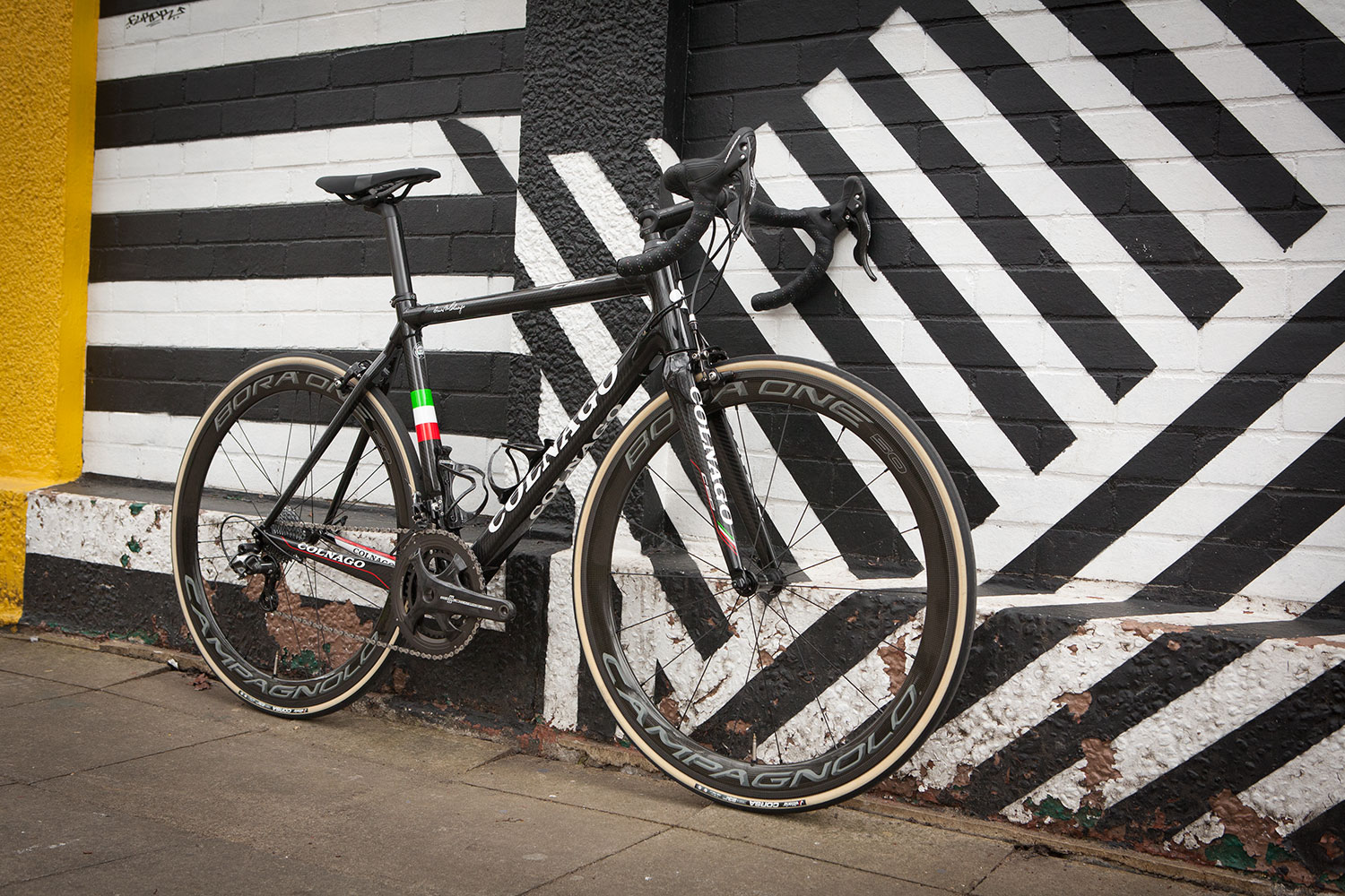 Colnago C60 bike in RSCG colours custom built at Super Domestique with Campagnolo Chorus groupset and Bora One 50 Dark Label wheelset, Vittoria Corsa G+ tyres and 3t Steal finishing kit.