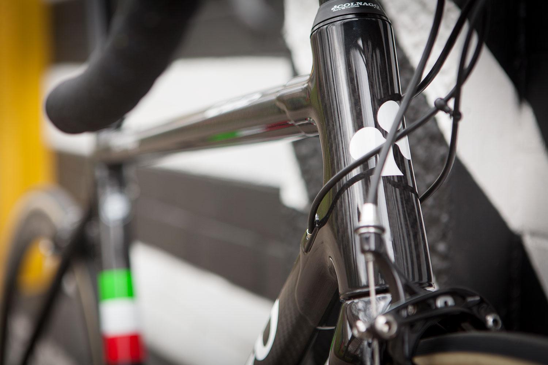 Colnago C60 frameset in RSCG colours custom built at Super Domestique. C60 Headtube detail.