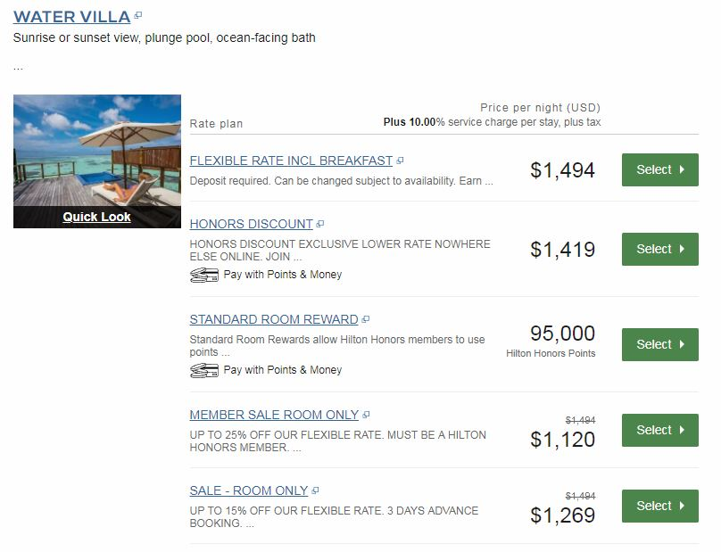 Cash or Points price for the Water Villa