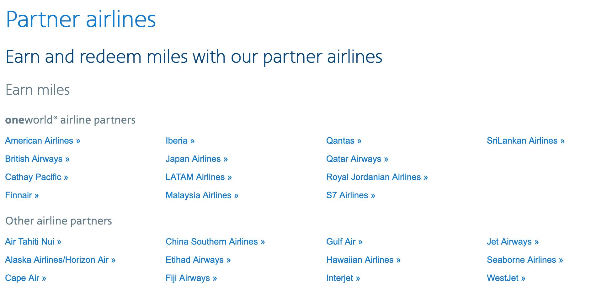 List of all the partners you can earn and redeem AA Miles on.