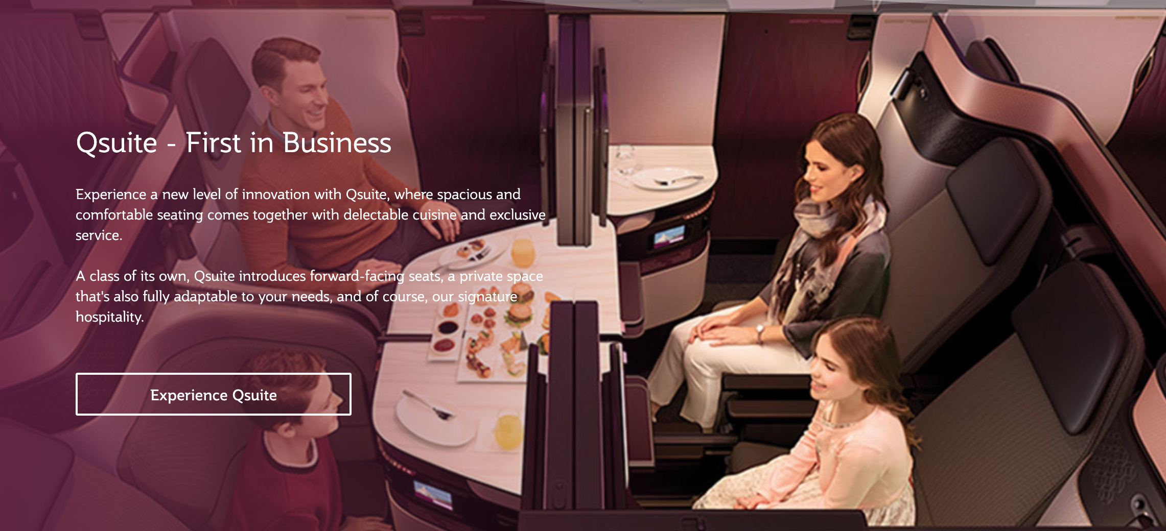 Qsuites are fully enclosed and can be combined into one suite of 4 seats!