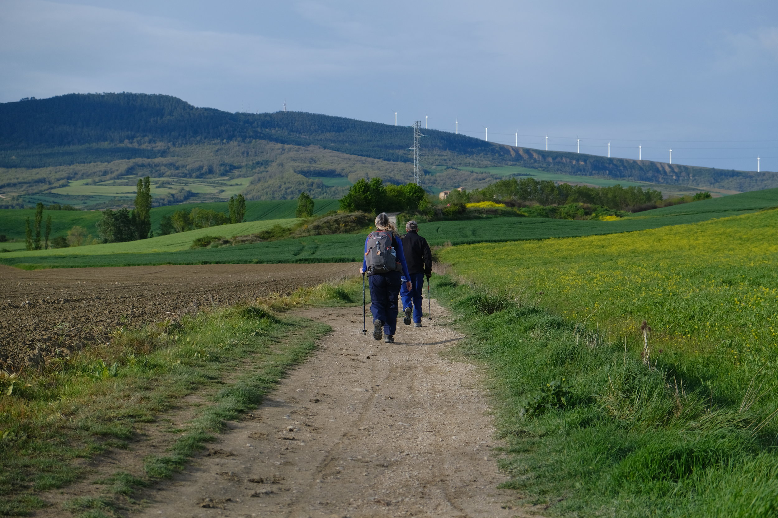 Crossing the windy ridge outside of Pamplona