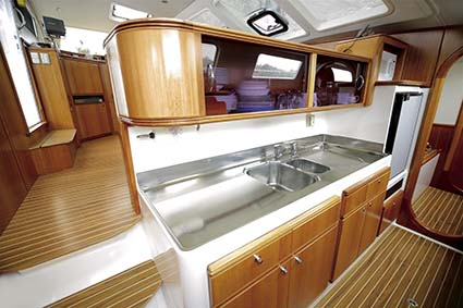 fULLY equipped galley with gas appliances