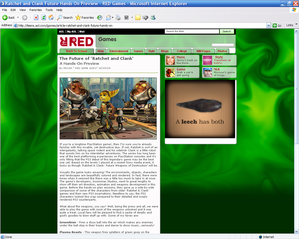 RED Review for Ratchet & Clank (AOL Teens)