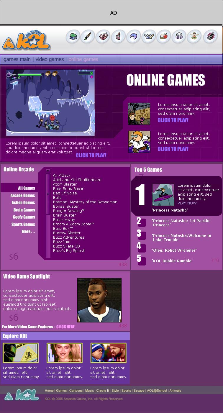 KOL Games Redesign Mock Up