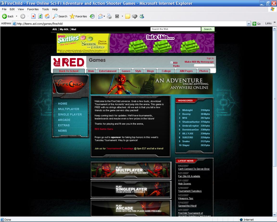 FireChild Main Page (AOL Teens)