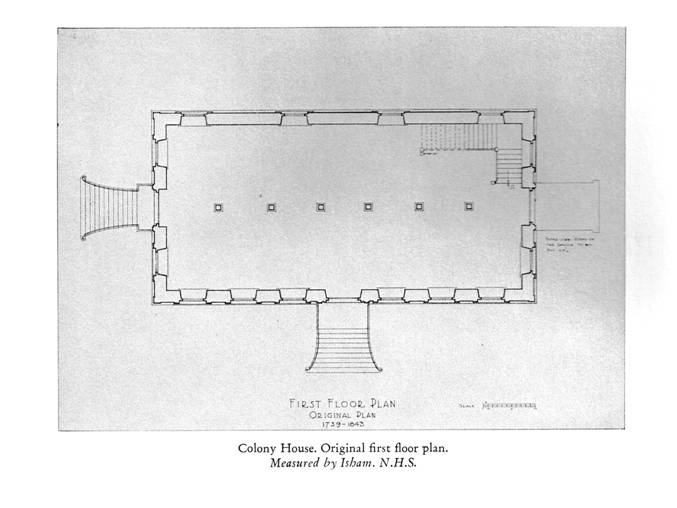 Colony House, Original first floor plan.