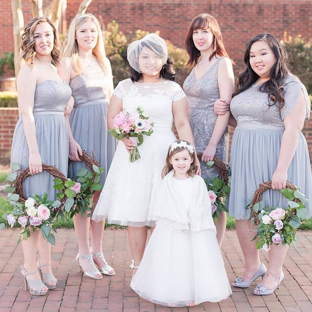 JoAnne vision of a fairytale like wedding came true last Saturday! Her unique loop bridesmaid bouquets were so original. Bert's Flower Shop executed the vision perfectly.  Gown and Bridesmaid dresses from @davidsbridal