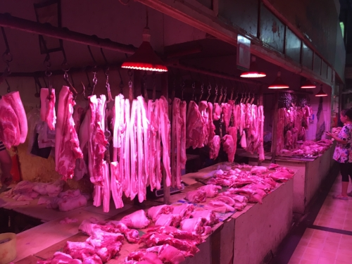 Hanging Meat in the Market