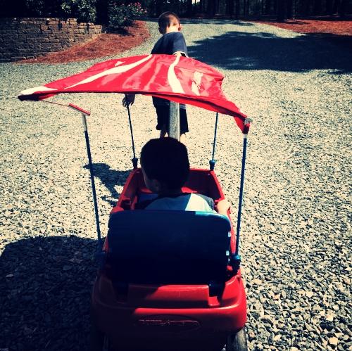 Wagon Fun with Brothers
