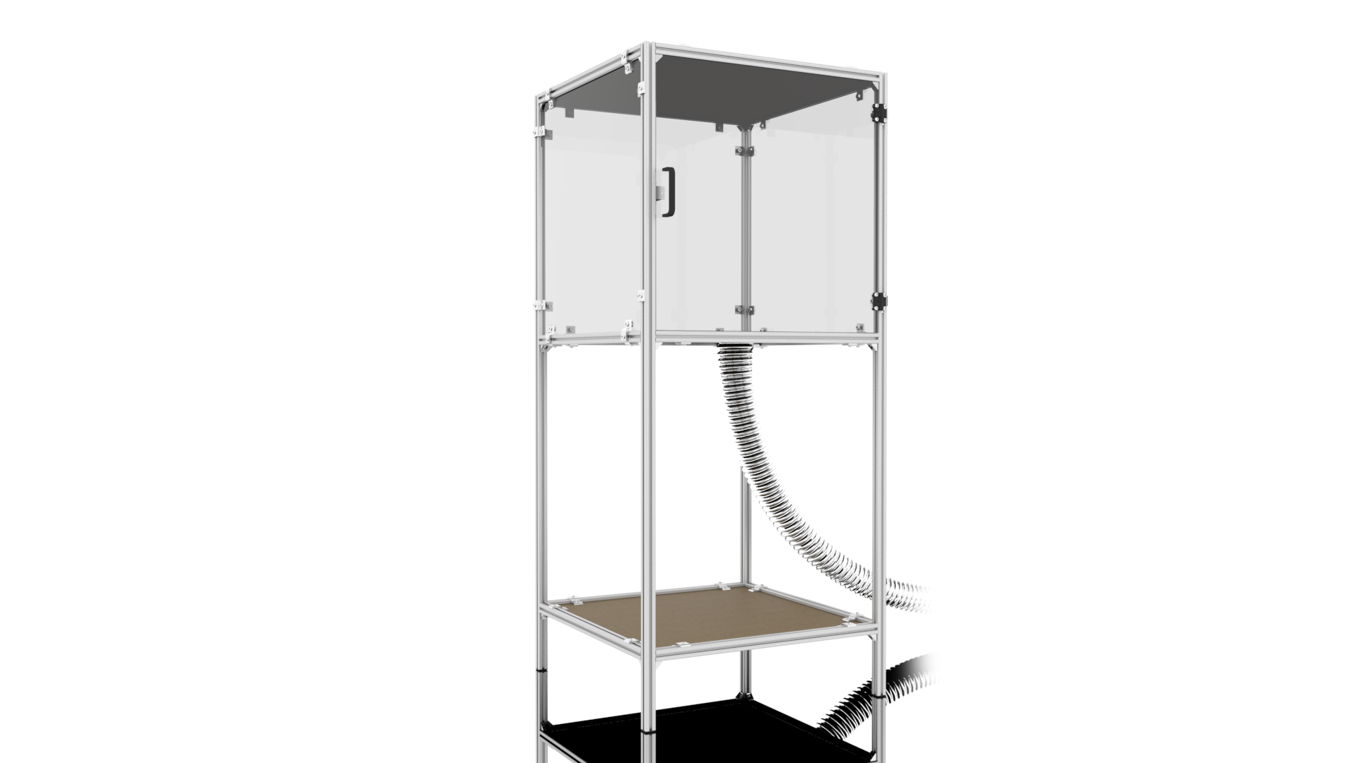 Fully-assembled printer enclosure with ventilation hose.