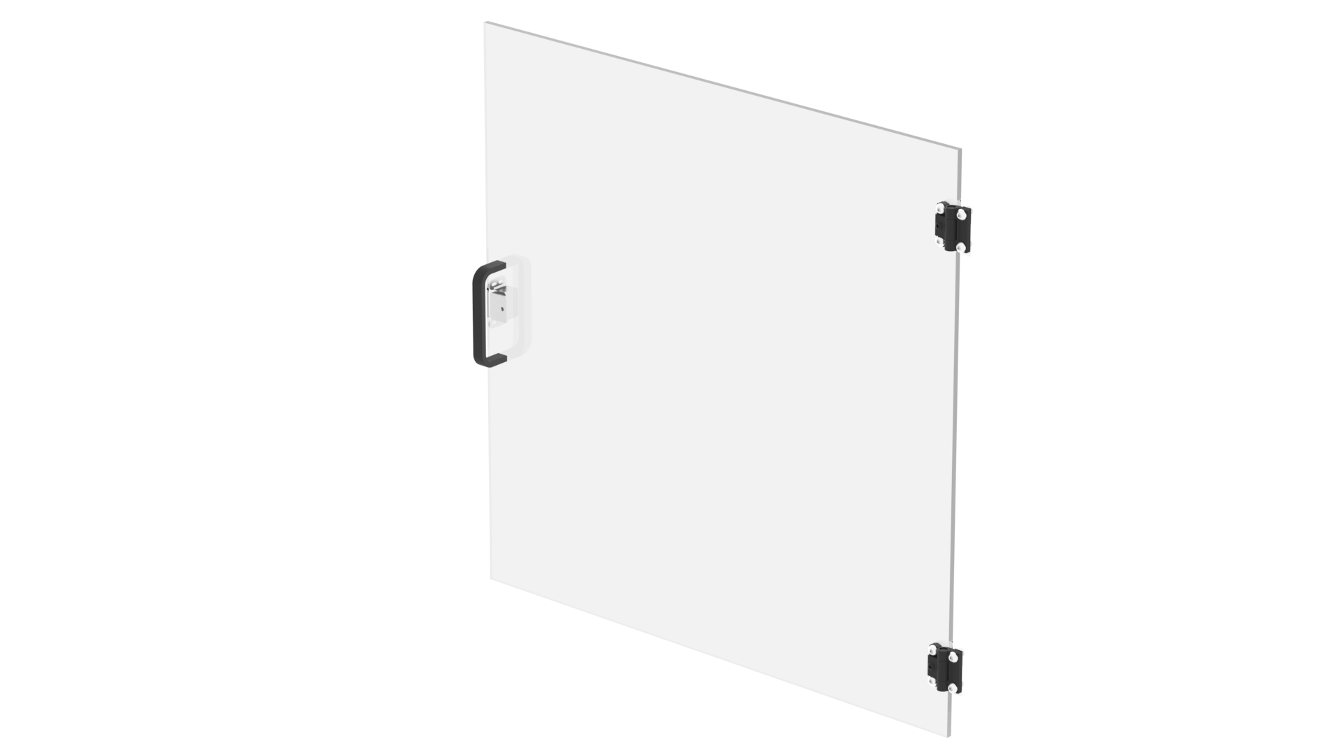Assemble the door by drilling holes for the handle and hinges, then screwing them on. Attach the magnetic latch plate with double-sided tape. If you don't like this handle, there are many other choices!