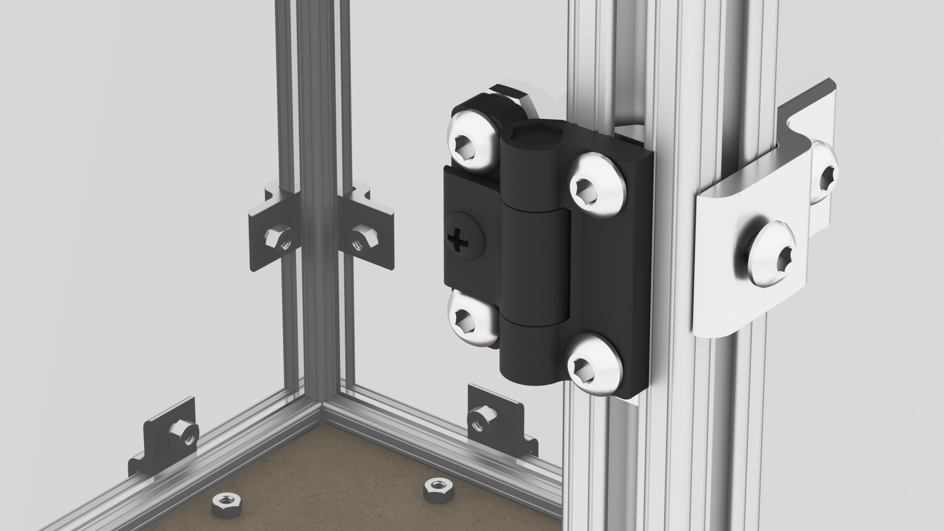 Install the hinges to the front of the frame. At this point you can slide the fastener hardware in from the top.