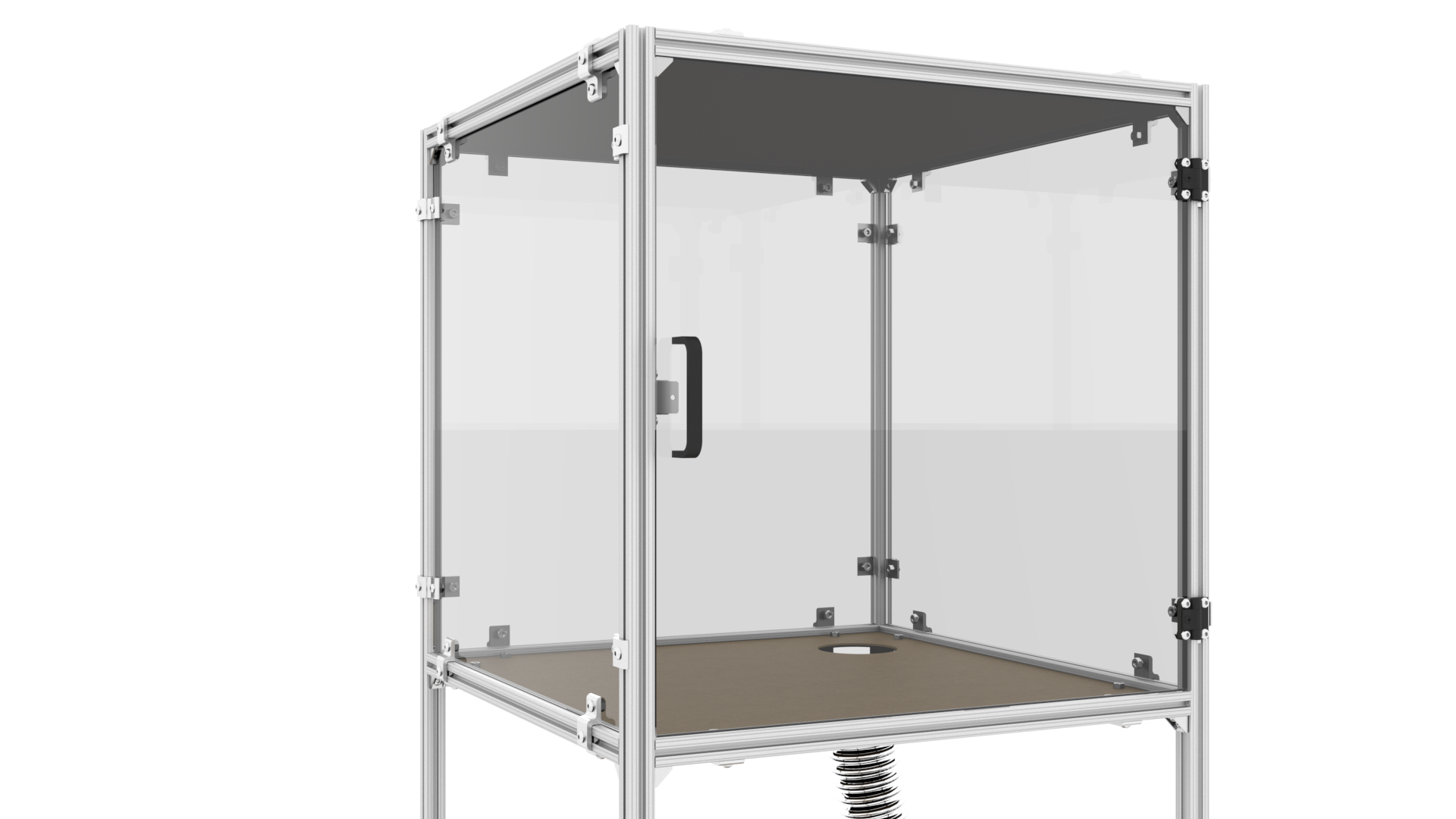 "You should now have a fully-enclosed tool cabinet that will easily fit a kit 3D printer! Use a hole saw, or chew through like a beaver, to make a 4"" cut-out in the shelf panel, then press-fit a flexible hose to ventilate the cabinet. Use some RTV or duct tape to seal up the hole, and send the hose out a window. Alternatively, do not install the hose and enjoy a face full of VOCs and aerosol nanoplastics every time you open the door!"