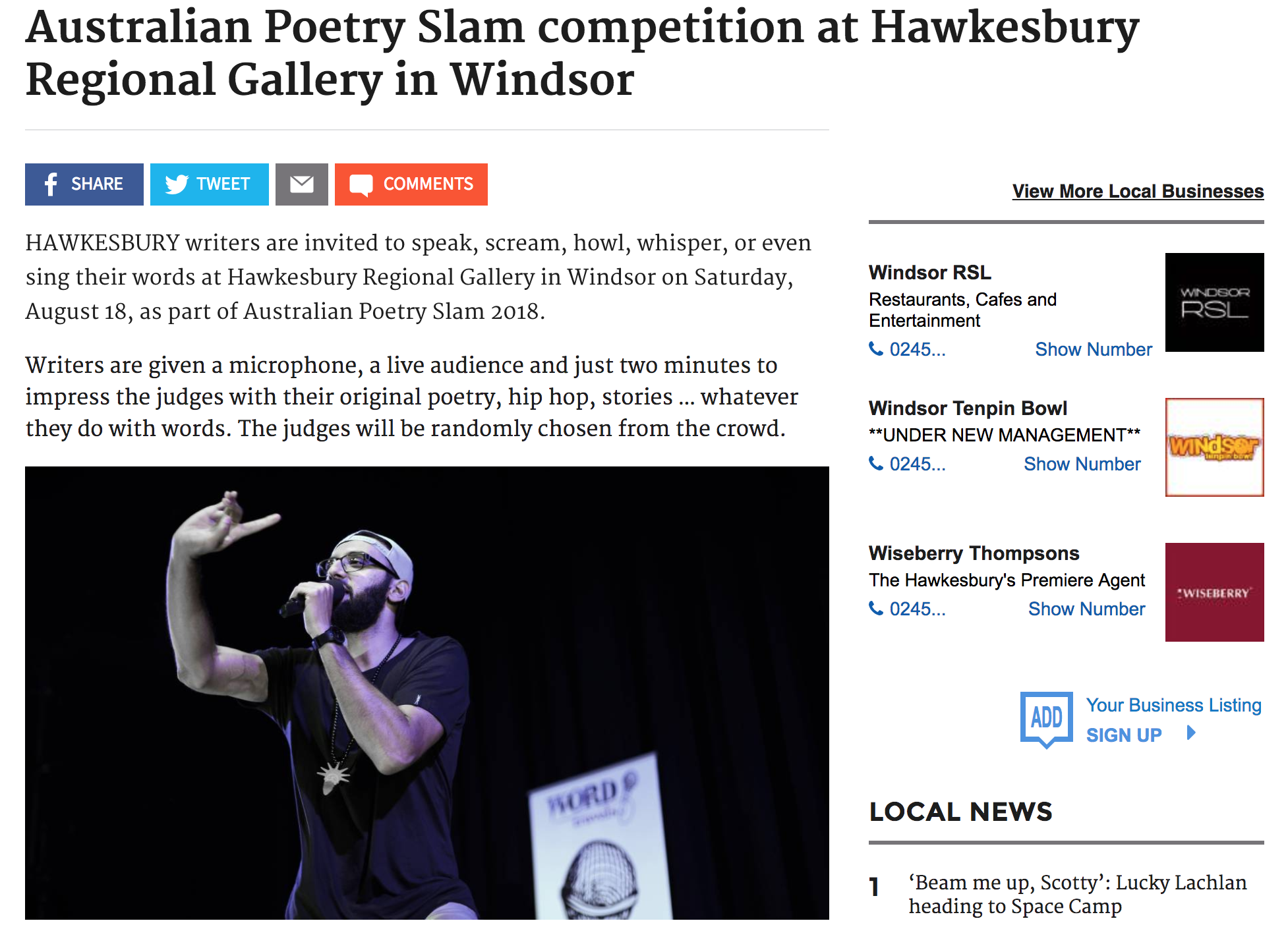 Australian Poetry Slam competition at Hawkesbury Regional Gallery in Windsor