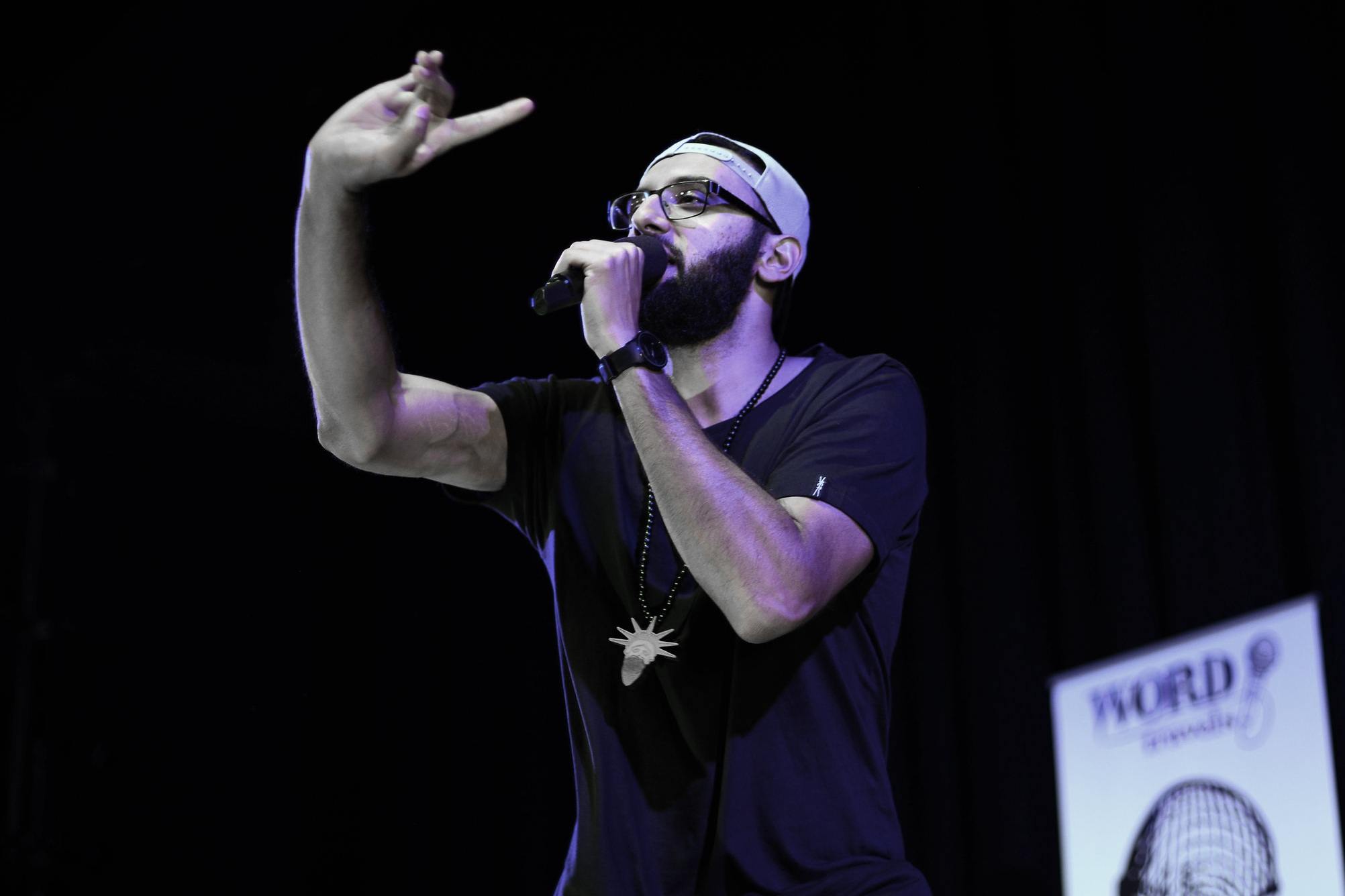 Zohab Zee Khan , 2014 Australian Poetry Slam Champion, performing at the National Final at Sydney Opera House.