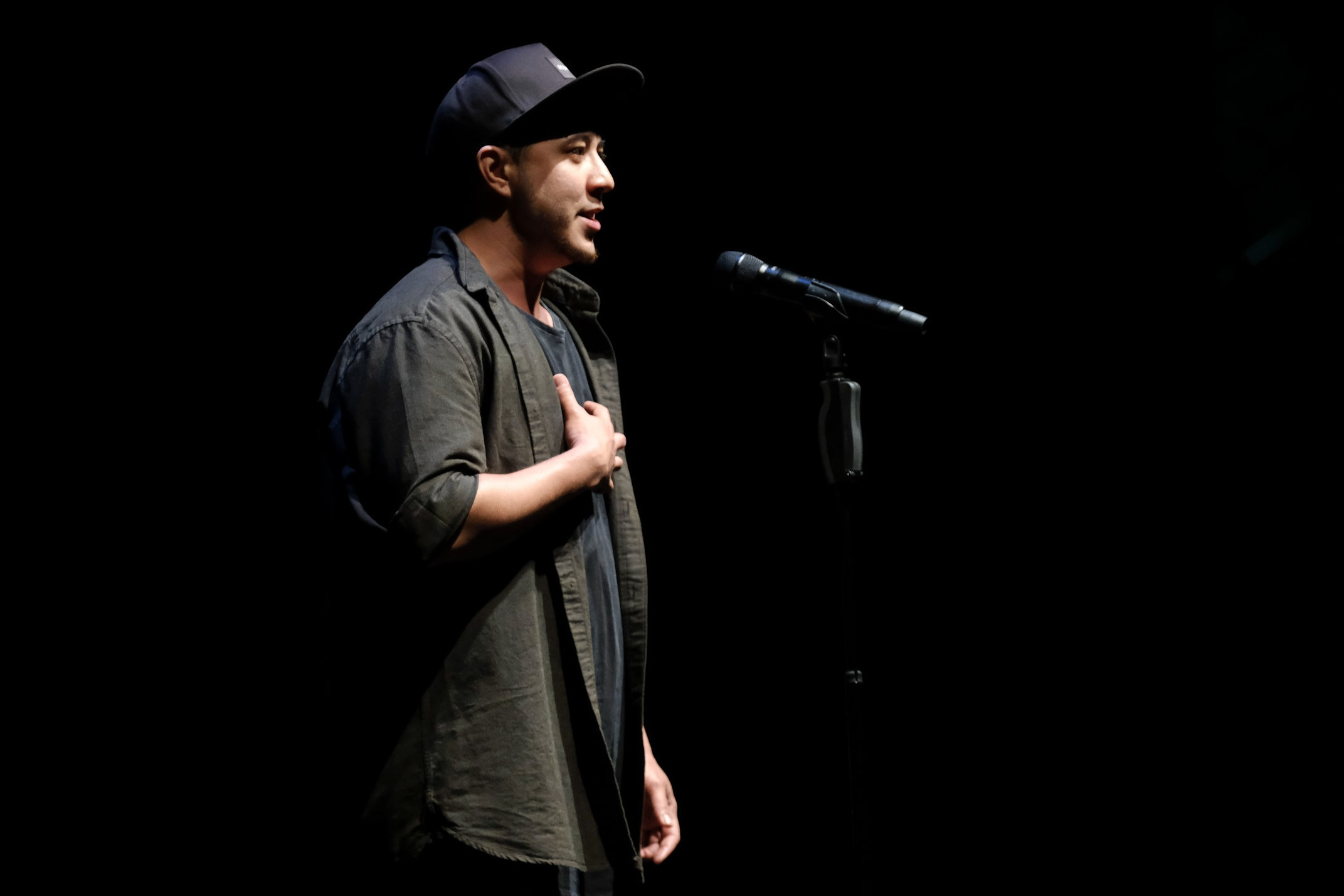 Jesse Oliver,  2017 Australian Poetry Slam Champion — Adult, performing at the National Final at Sydney Opera House.