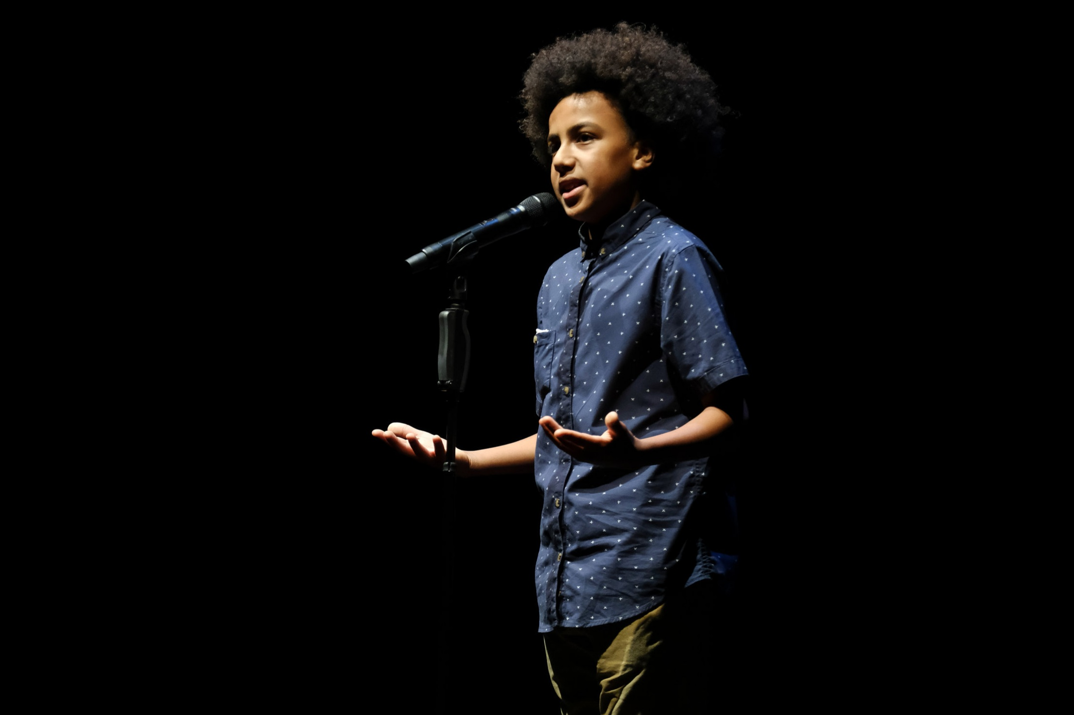 Solli Raphael , 2017 Australian Poetry Slam Champion — Youth, performing at the National Final at Sydney Opera House.