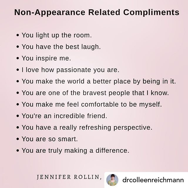 Even a 'good' appearance-based compliment can be painful. It can become a standard that must be kept or a reminder that you are valued for how you look. What a gift it would be to truly see someone and tell them what their presence and gifts bring to you and the rest of the world.  What's the best compliment you've ever been given?  Reposted with #repostapp @drcolleenreichmann @jennifer_rollin #recovery #edrecovery #morethanabody
