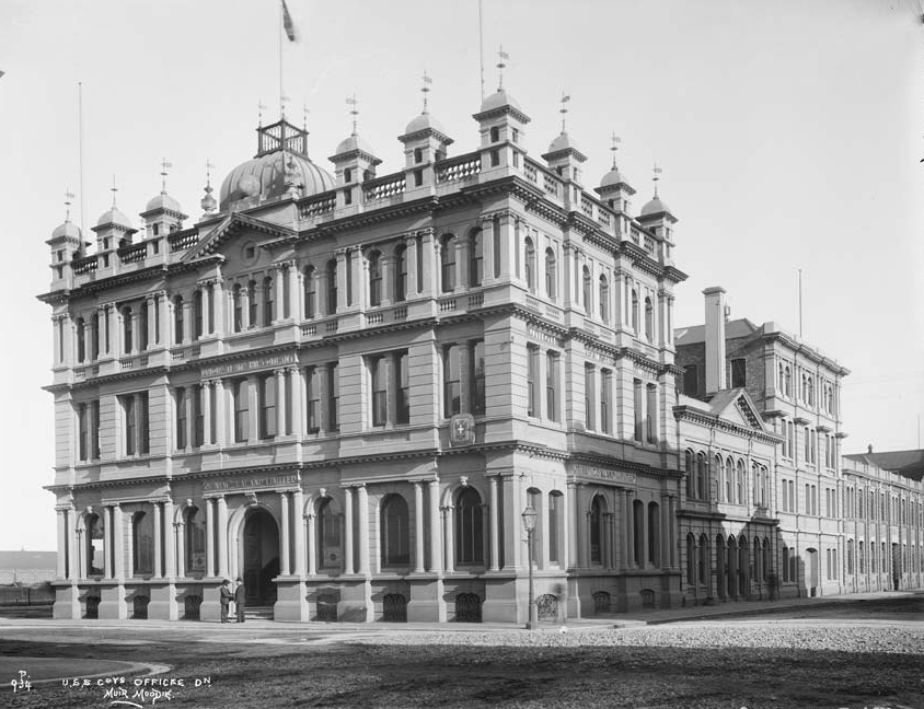The NMA building, formally the headquarters of The Union Steam Ship Company. Although 'modernized' in the 1940's it still stands on the corner of Vogel St & Water St.