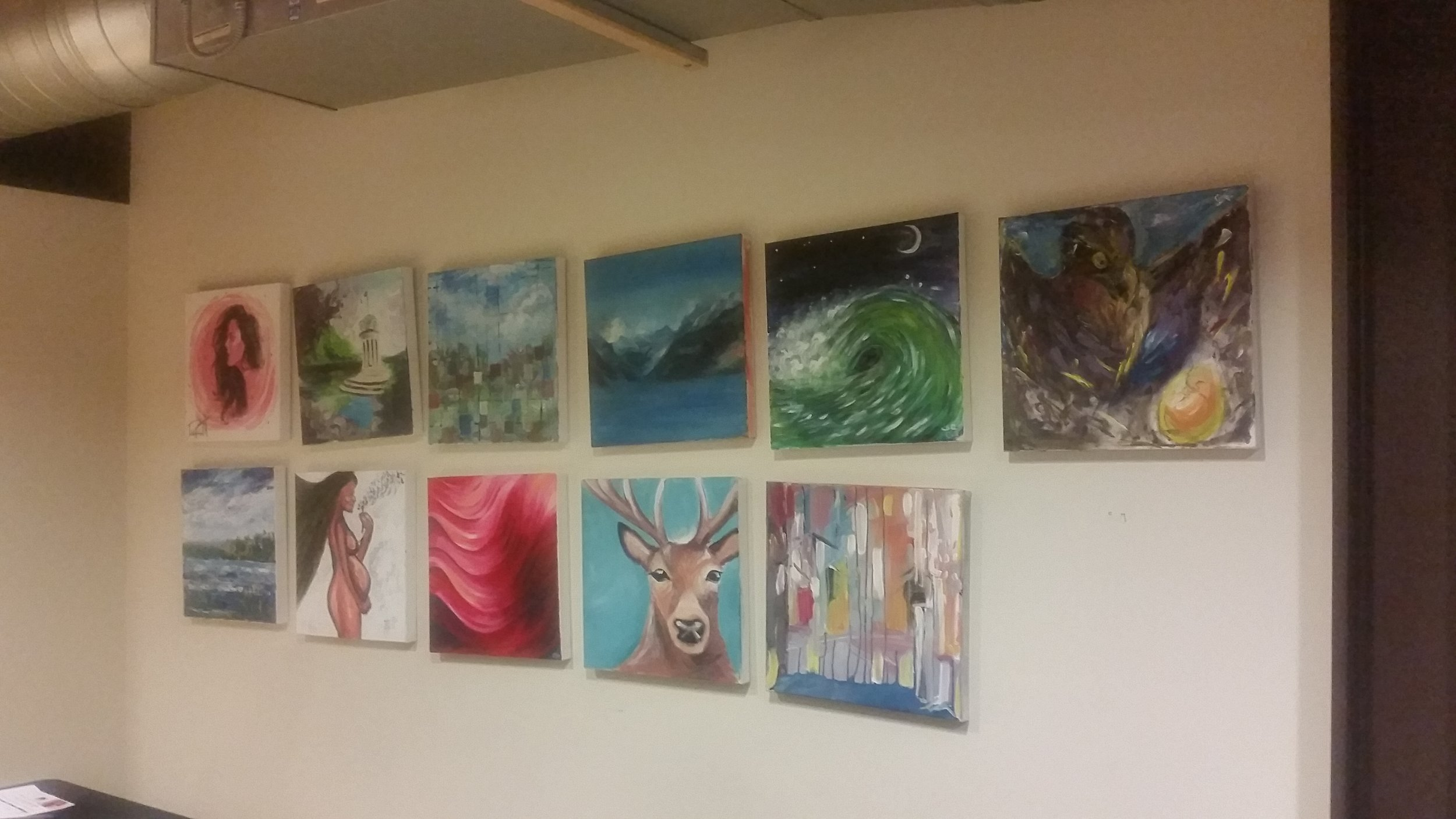 Art from round 1 ready for the silent auction