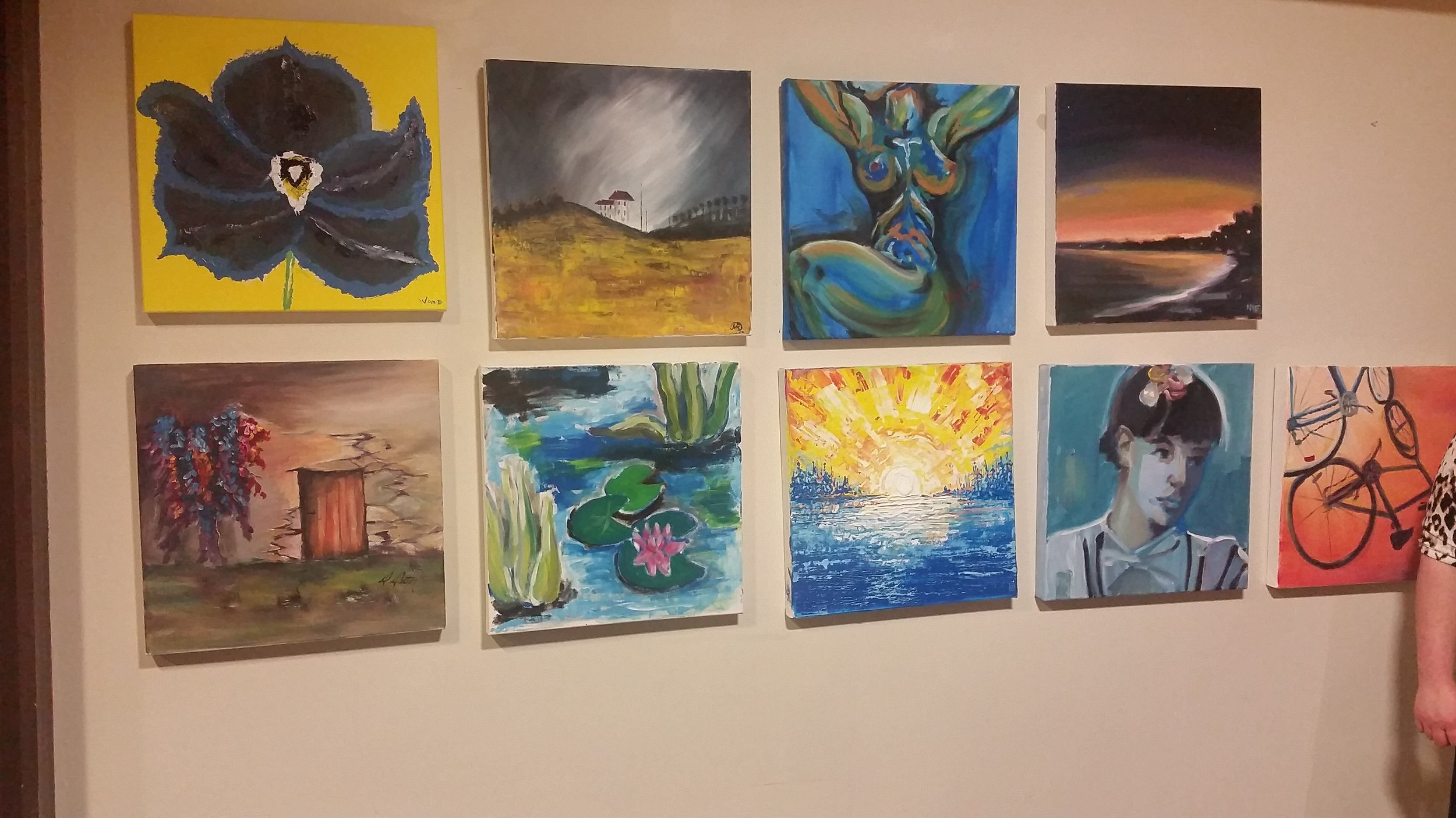 Art from round 1 ready for the silent auction. My friend was the lucky winner of the top left painting.