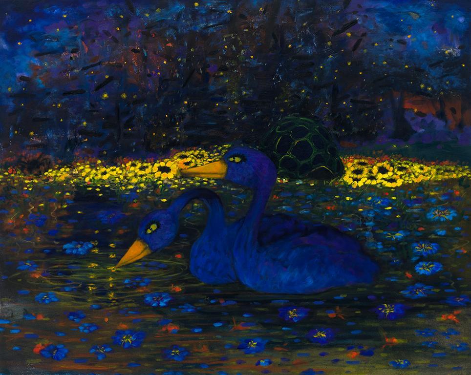 "Hunter   . Oil on canvas  . 102 x 127 cm (40"" x 50"")  . 2018"