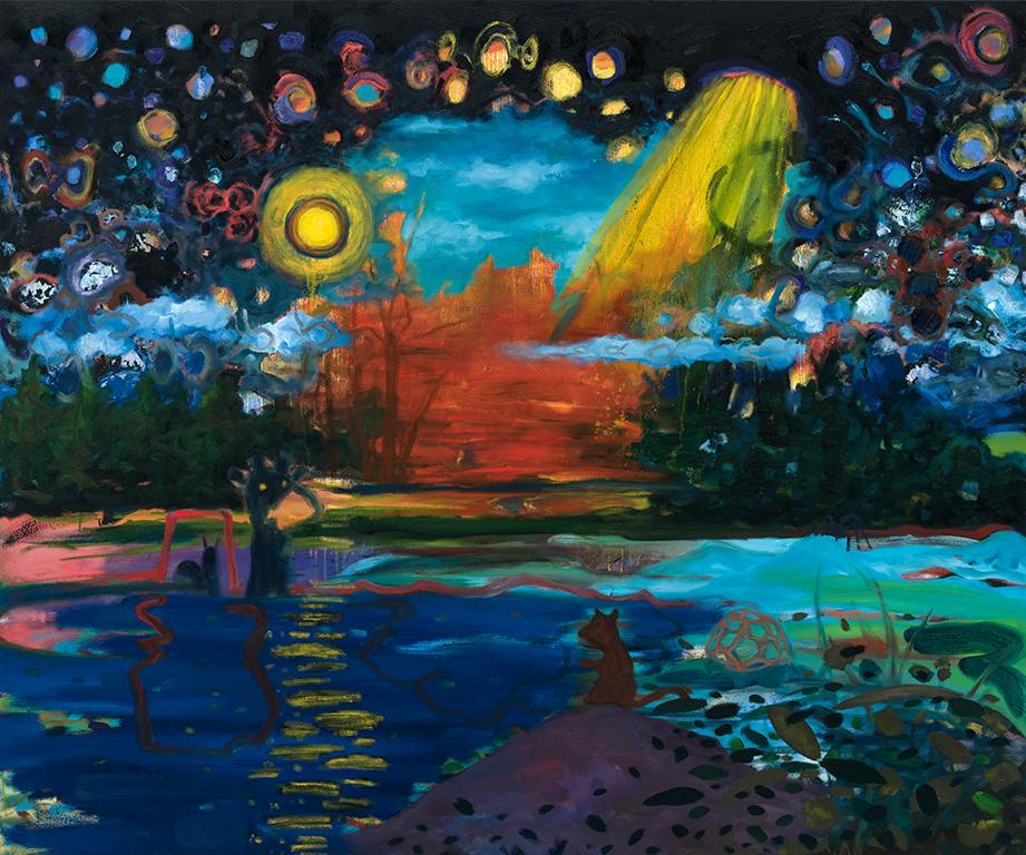 """Diver (eclaircie pastorale)   . Oil on canvas  . 127 x 152 cm (50"""" x 60"""")  . 2018"""
