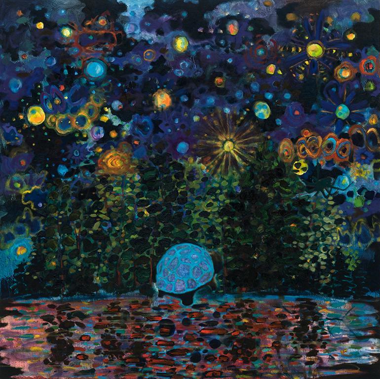 "Navigator   . Oil on canvas  . 127 x 127 (50"" x 50"")  . 2018"