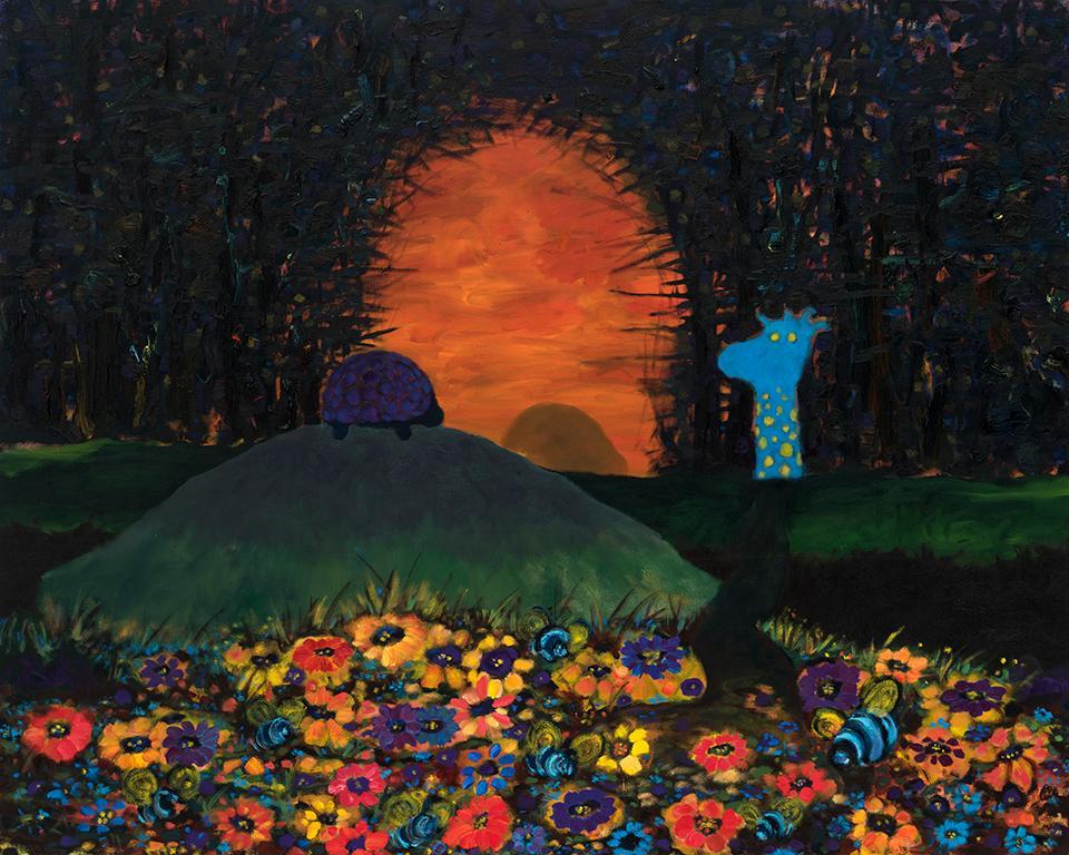 """Caller   . Oil on canvas  . 106.5 x 137 cm (42"""" x 54"""")  . 2018"""