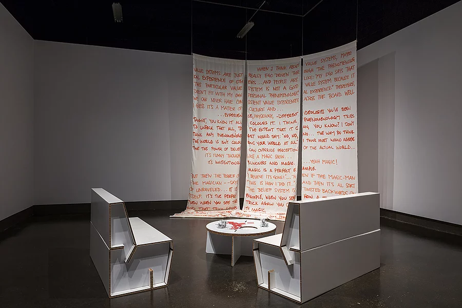 Listening Lounge: a critique of reason  consists of a textile sculpture and cardboard lounge for people to listen to the podcast   Unpolished and Unprepared  , 2017