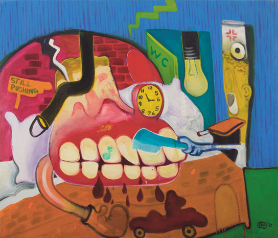 Peter Saul,   Sickroom  , 1964; oil on canvas; 50 ½ x 59 inches; collection of Sally and Peter Saul; © Peter Saul; courtesy Haunch of Venison, New York