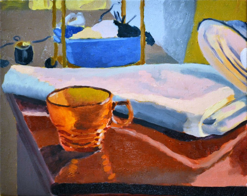 Still Life with Glass, Lamp and Studio   Oil on Canvas  2016