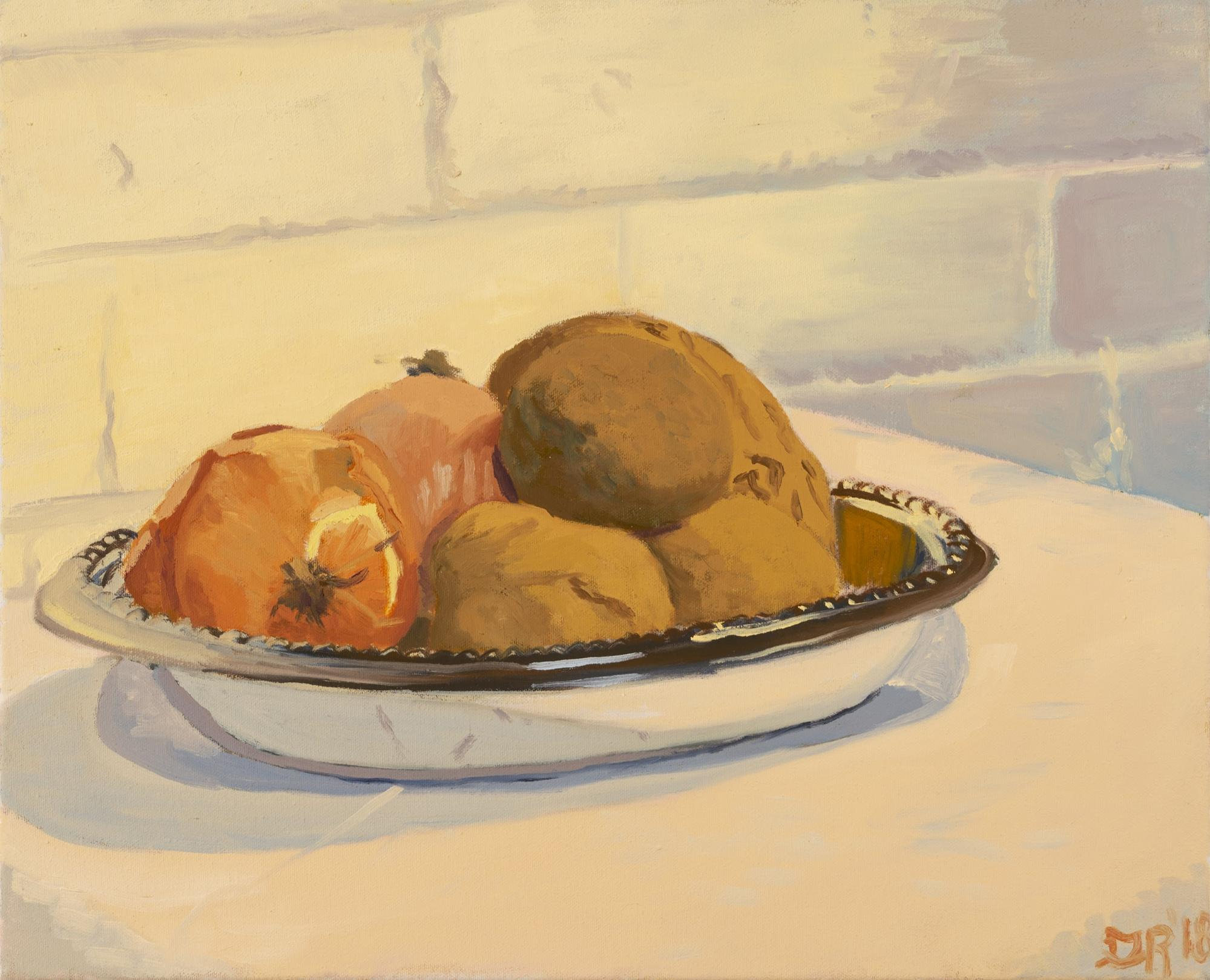 Still Life with Potatoes and Onions in a Silver Tray   Oil on Canvas  2018