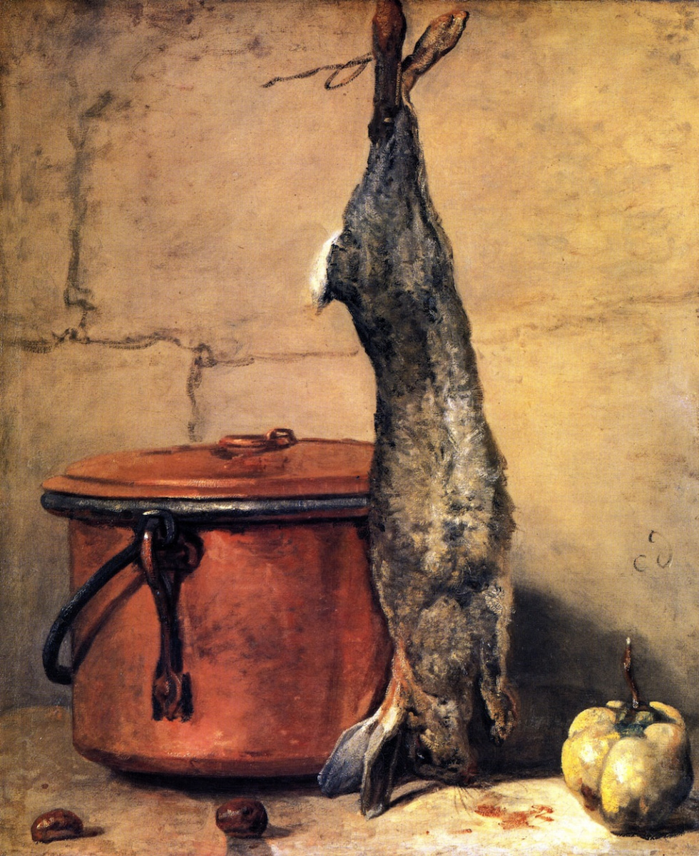 Jean Baptiste Simeon Chardin.  Still life with rabbit, quince and a copper boiler , 1739-40